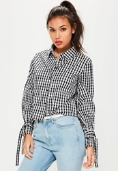 Missguided Black Gingham Tie Flare Sleeve Shirt