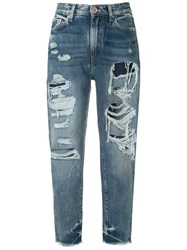 Armani Exchange Ripped Detail Jeans Blue