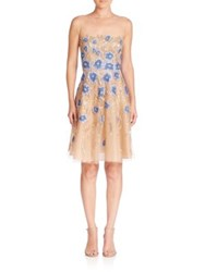 Naeem Khan Floral Applique Dress Gold Blue