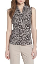 Anne Klein Printed Triple Pleat V Neck Top Black Oyster Shell Combo