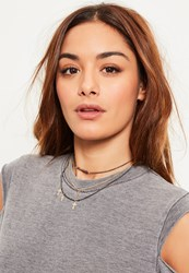 Missguided Gold Cross Charm Layered Necklace Set Multi