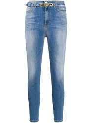 Pinko Mid Rise Belted Skinny Jeans Blue