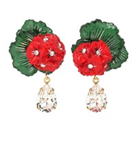 Dolce And Gabbana Floral Clip On Drop Earrings Red