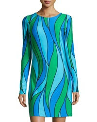 Jb By Julie Brown Morgan Printed Long Sleeve Shift Dress Blue Figi