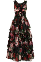 Dolce And Gabbana Ruffled Tiered Floral Print Silk Chiffon Gown Black