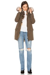 Jocelyn Full Wash Cargo Silver Fox Trim Coat Olive