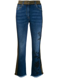 Etro Contrast Embroidered Jeans Blue