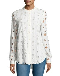 Equipment Henri Embroidered Cutout Silk Shirt White White Pattern