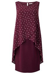 Jacques Vert Woven Spot Dress Red
