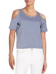 Saks Fifth Avenue Red Cropped Cold Shoulder Tee Smoke