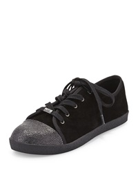 Delman Magie Low Top Suede Sneaker Black