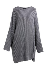 Raf Simons Cut Out Metallic Ribbed Knit Sweater Silver
