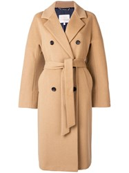 Tommy Hilfiger Belted Double Breasted Coat Brown