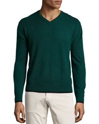 Neiman Marcus Cashmere V Neck Tipped Pullover Sweater Green Leaf