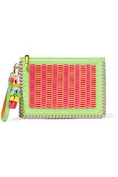 Sophia Webster Flossy Woven Pvc And Leather Pouch Pink