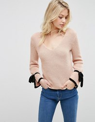 Asos Jumper With V Neck And Contrast Ties Blush Pink
