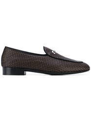 Giuseppe Zanotti Design Woven Loafers Men Leather Canvas 43 Black