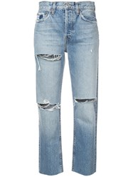 Re Done Cropped Straight Leg Jeans Blue