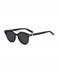 Christian Dior Black Tie Round Metal Bar Sunglasses