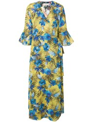 Black Coral Floral Day Dress Yellow
