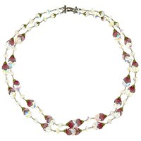 Eclectica Vintage 1950S Vendome Chrome Plated Austrian Crystal Necklace Clear Pink