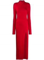 Unravel Project Long Knitted Dress Red
