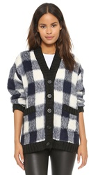 Sea Gingham Cardigan Navy
