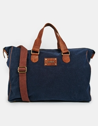 Barney's Barneys Canvas And Leather Carryall Blue