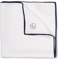 Kingsman Drake's Silk Pocket Square White