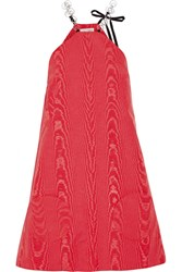 Isa Arfen Twiggy Embellished Cotton Blend Moire Mini Dress Red