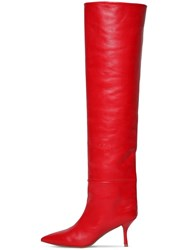 Stuart Weitzman 75Mm Millie Over The Knee Leather Boots Red