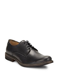 Bugatchi Solid Leather Derby Shoes Navy