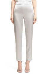 Women's St. John Collection Liquid Satin Crop Pants Platinum