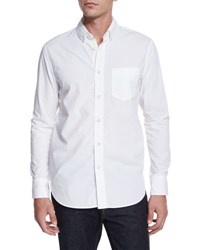 Rag And Bone Solid Long Sleeve Sport Shirt White