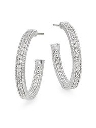 Judith Ripka Estate White Sapphire And Sterling Silver Hoop Earrings 1