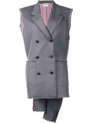 Thom Browne Double Breasted Waistcoat Grey