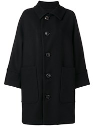 Dsquared2 Oversized Single Breasted Coat Women Polyamide Polyester Cashmere Virgin Wool 38 Black