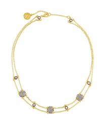 Freida Rothman Double Row Pave Crystal Clover Station Choker Necklace Gold