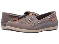 Sperry Coil Ivy Leather Canvas Grey Women's Moccasin Shoes Gray