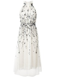 Monique Lhuillier Embellished Pleated Dress Women Silk 12 White