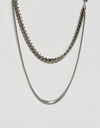 Gogo Philip Double Layered Necklace Silver