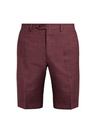 Brioni Wool Blend Slim Fit Shorts Burgundy