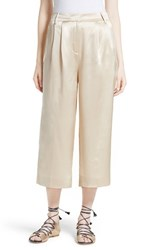 Tibi Women's Pleated Crop Silk Pants Champagne