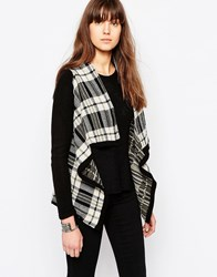Only Check Print Button Cardigan Oatmeal Dusty Olive Multi