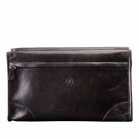 Maxwell Scott Bags The Tanta Luxury Large Leather Wash Bag Black