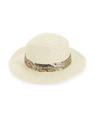 Genie By Eugenia Kim Sequin Trimmed Woven Panama Hat Ivory