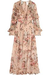 Zimmermann Aerial Ruffled Floral Print Silk Georgette Dress Blush