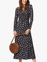 Brora Liberty Of London Jersey Ruched Midi Dress Midnight Floral