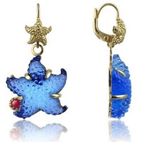 Tagliamonte Marina Collection Blue Starfish Rubie And 18K Gold Earrings