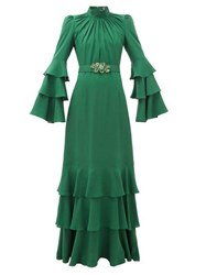 Andrew Gn Gathered Neck Belted Silk Crepe Gown Dark Green